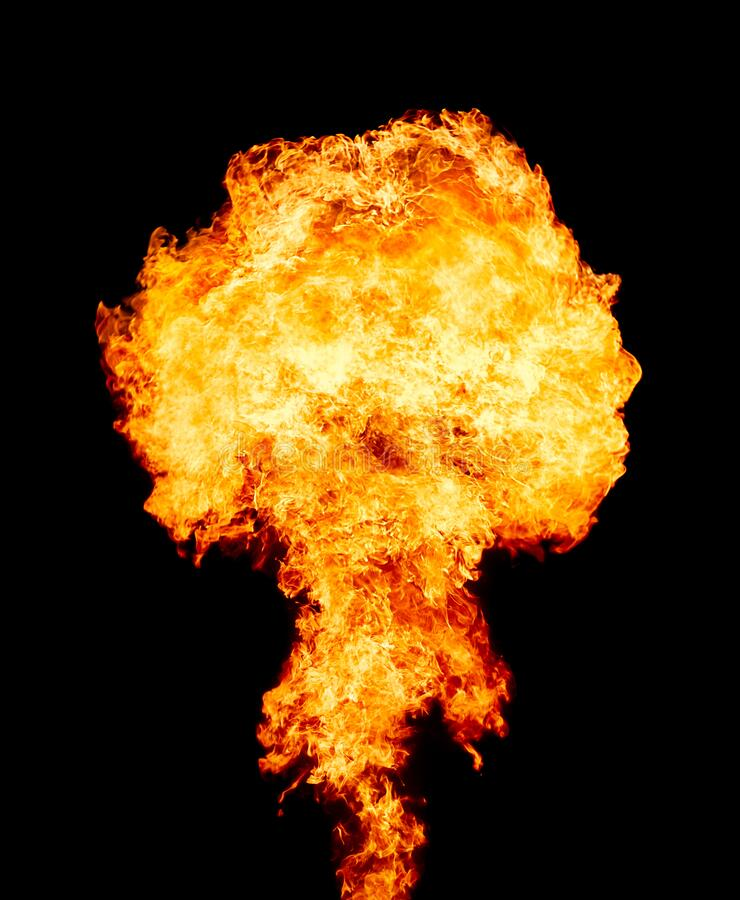 Explosion - fire mushroom. Mushroom cloud fireball from an explosion at night. Symbol of environmental protection and the dangers. Explosion - fire mushroom stock photo