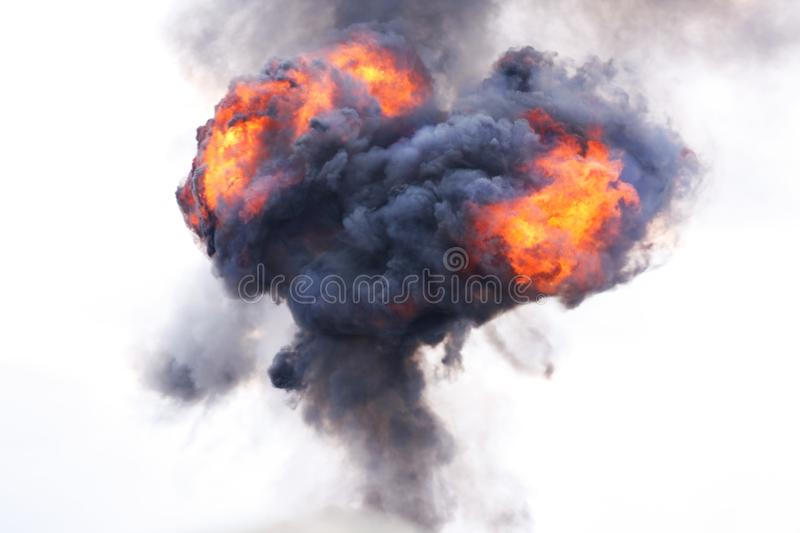 Explosion with fire and smoke stock image