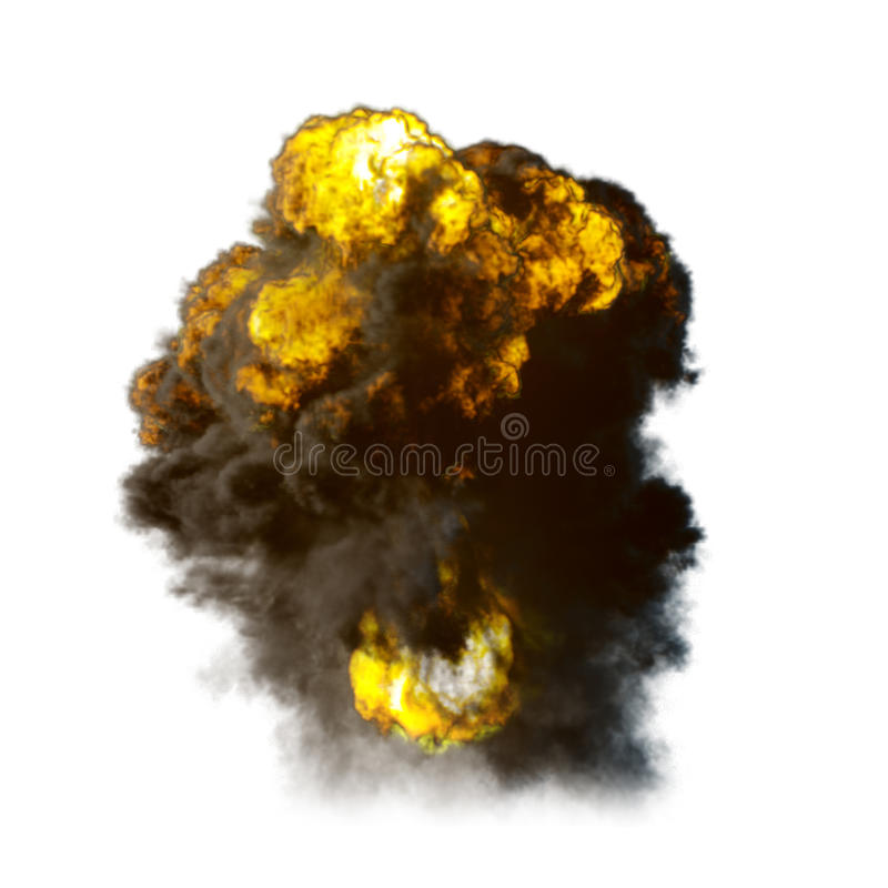 Explosion with fire and smoke isolated vector illustration