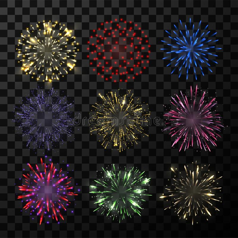 Explosion of firework, bright show sparkle decoration. Carnival or night burst with colored lights for holiday. Vector illustration stock illustration