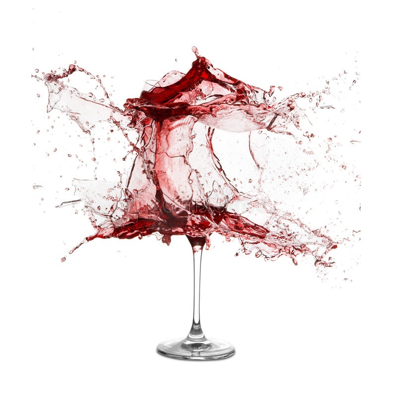 Explosion Of A Glass With Red Wine Royalty Free Stock Photos
