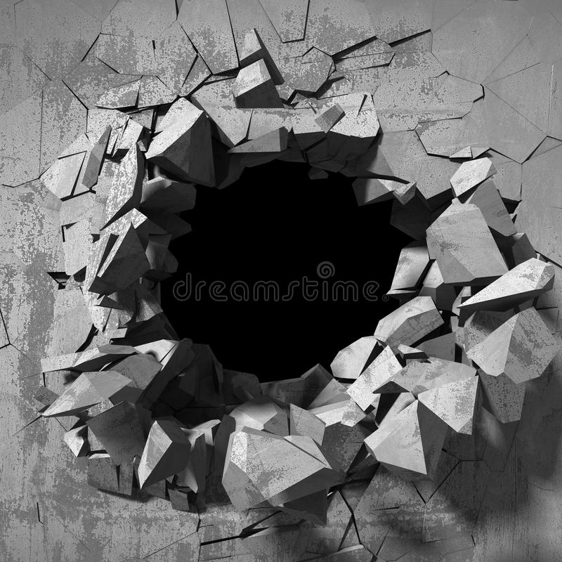 Explosion hole in concrete cracked wall. Industrial background stock illustration