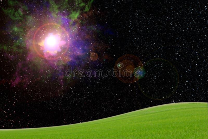 Explosion i galax med ängen på jord, abstrakt bakgrund royaltyfria bilder