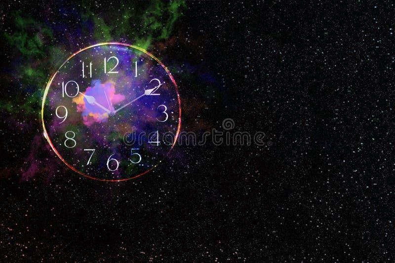 Explosion i galax med klockan, abstrakt bakgrund royaltyfria bilder