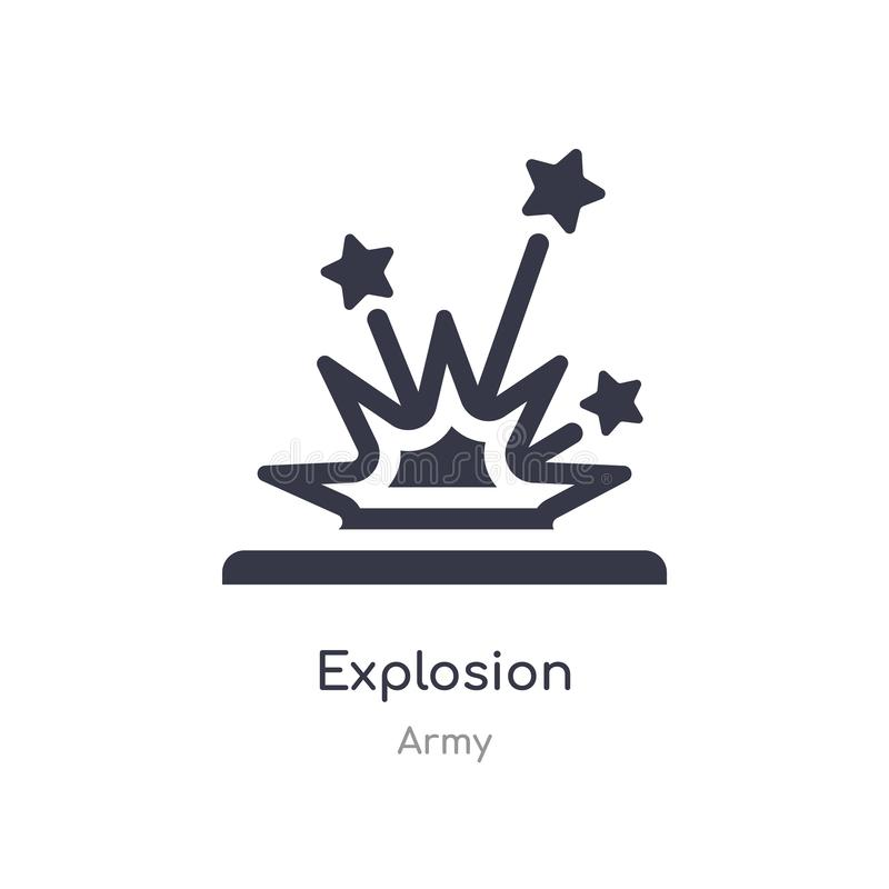 explosion icon. isolated explosion icon vector illustration from army collection. editable sing symbol can be use for web site and stock illustration