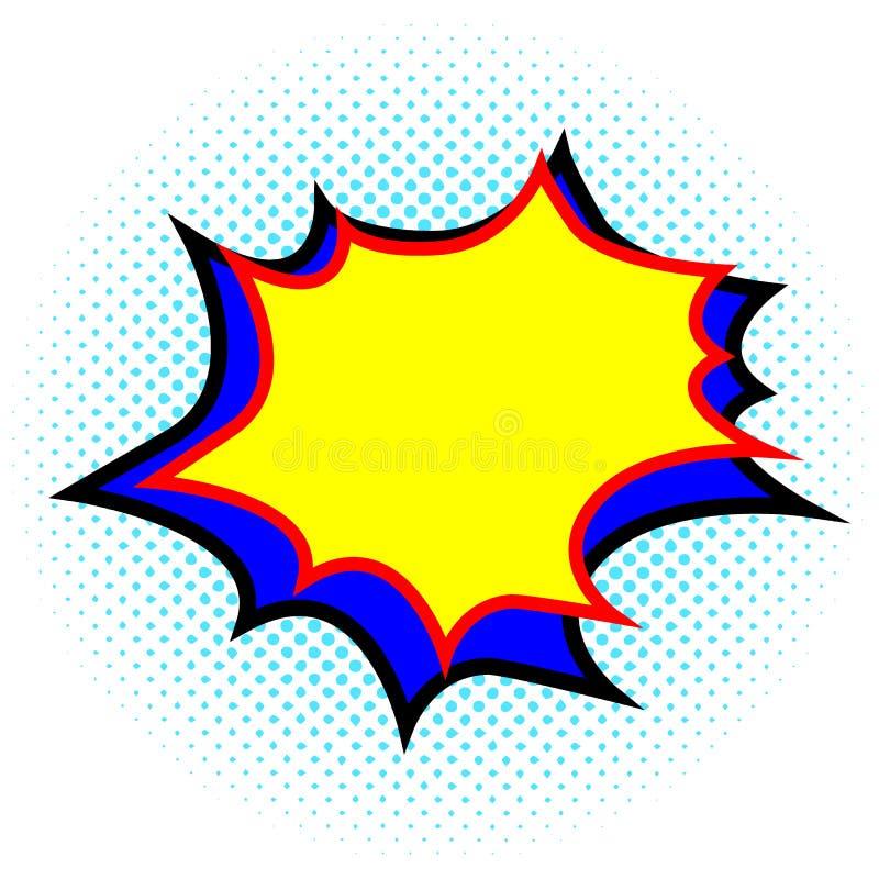 Explosion jaune et bleue de calibre vide, bulle de la parole Style comique de bande dessin?e Art de bruit Vecteur illustration libre de droits