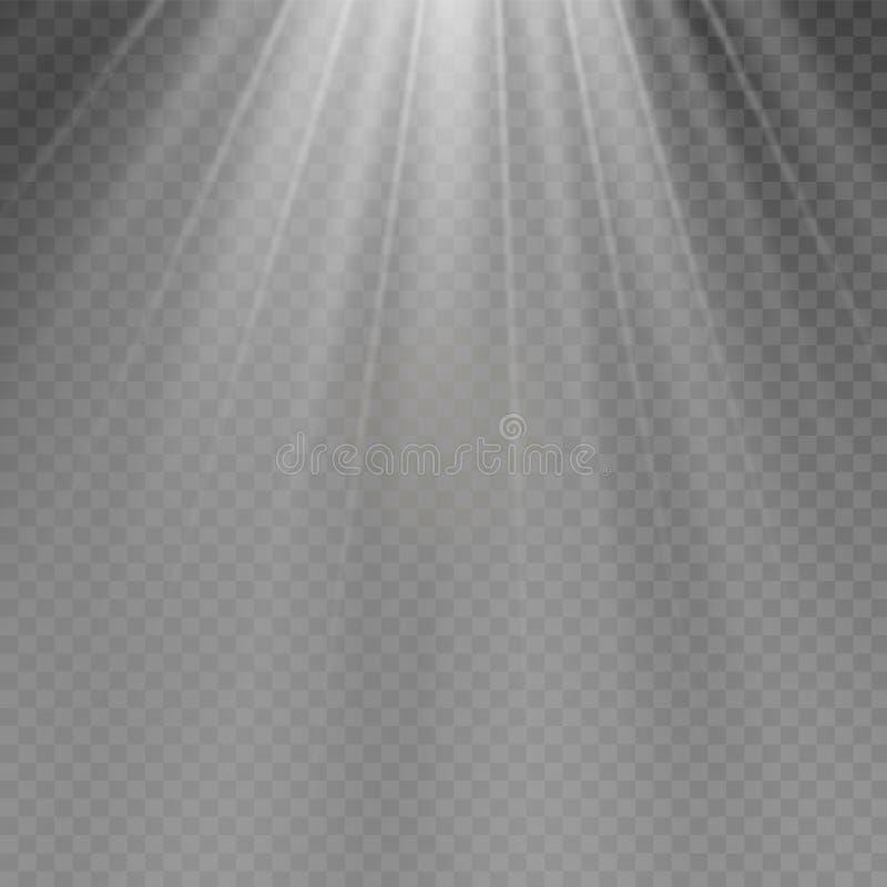 Explosion légère rougeoyante blanche d'éclat sur le fond transparent Décoration d'effet de la lumière d'illustration de vecteur a illustration stock