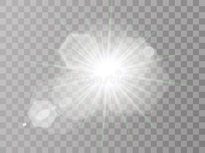 Explosion l?g?re rougeoyante blanche d'?clat avec transparent L'illustration de vecteur pour la décoration fraîche d'effet avec l illustration stock