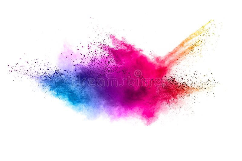 Color powder explosion then splash on white background. royalty free stock image