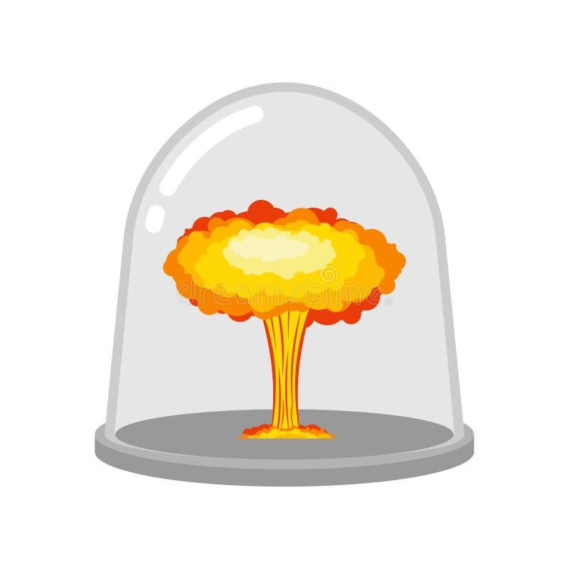 Explosion nucléaire dans la cloche en verre Études de laboratoire de guerre chem illustration de vecteur