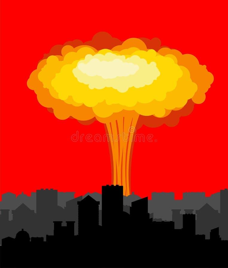 Explosion nucléaire dans la ville Guerre en ville grand chem explosif rouge illustration libre de droits