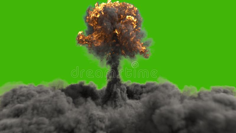 The explosion of a nuclear bomb. Realistic 3D of atomic bomb explosion with fire, smoke and mushroom cloud in front of a vector illustration