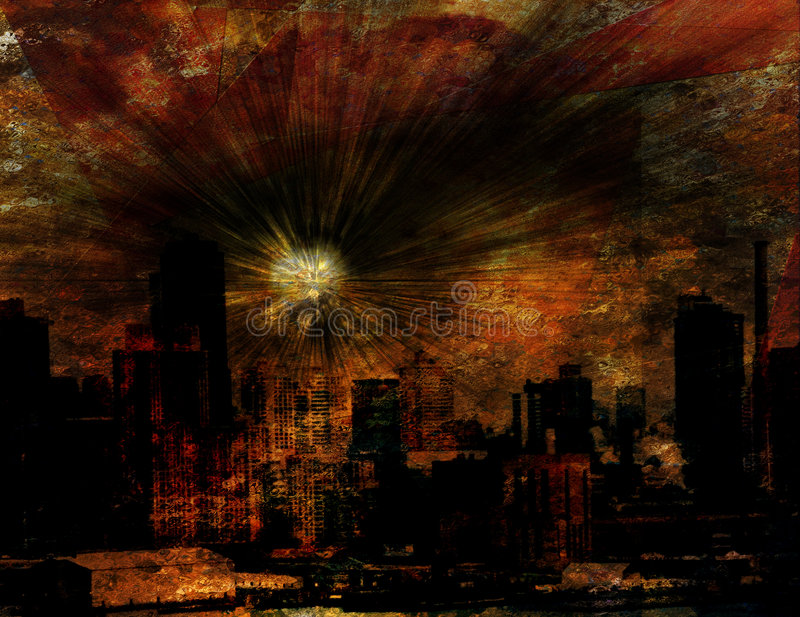 Explosion over NYC royalty free illustration