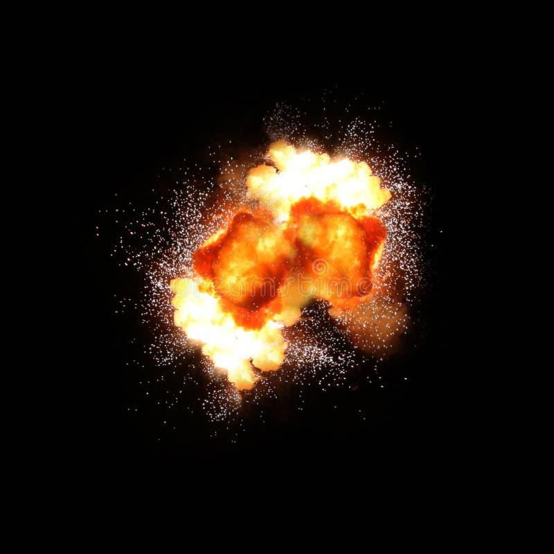 Explosion in på den svarta bakgrunden arkivbild