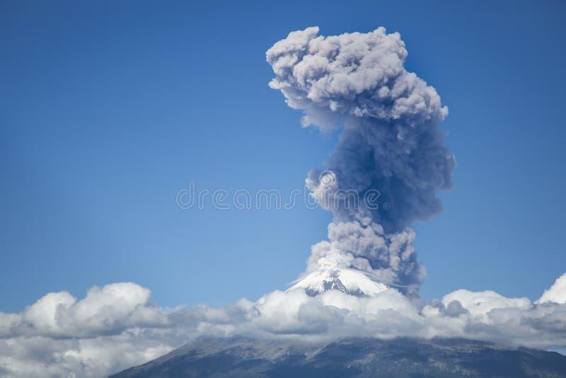 Explosion of popocatepetl volcano stock image