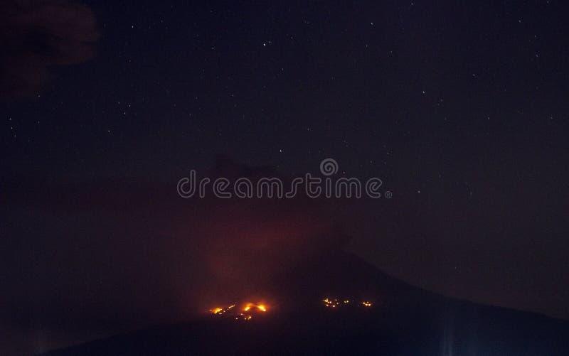 Explosion of popocatepetl volcano, night stock photos
