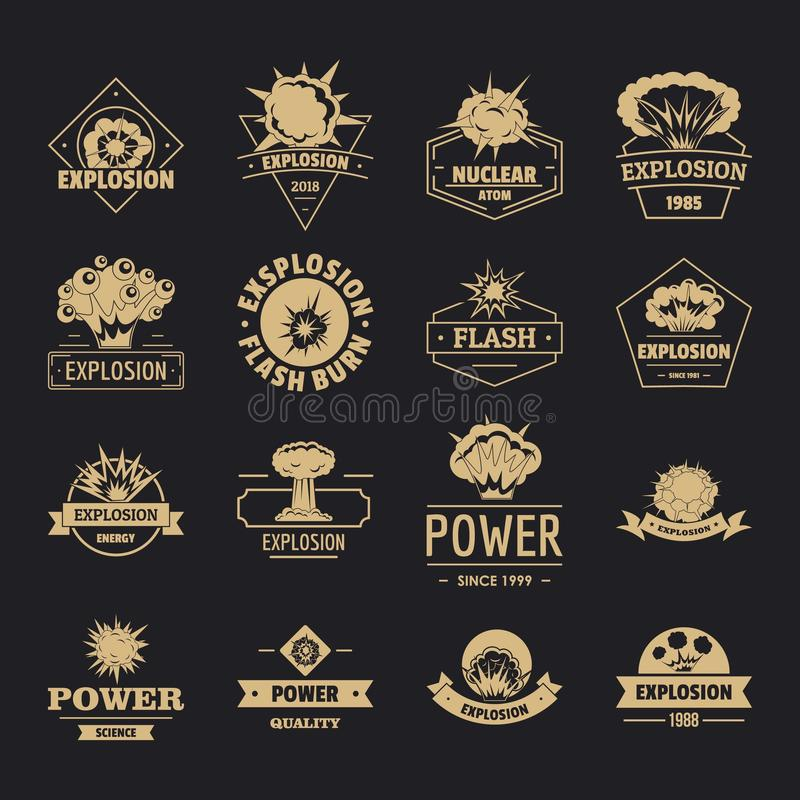 Explosion power logo icons set, simple style stock illustration