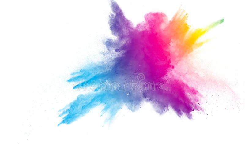 Explosion of rainbow color powder on white background. stock images