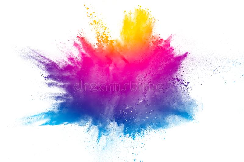 Explosion of rainbow color powder on white background. royalty free stock image