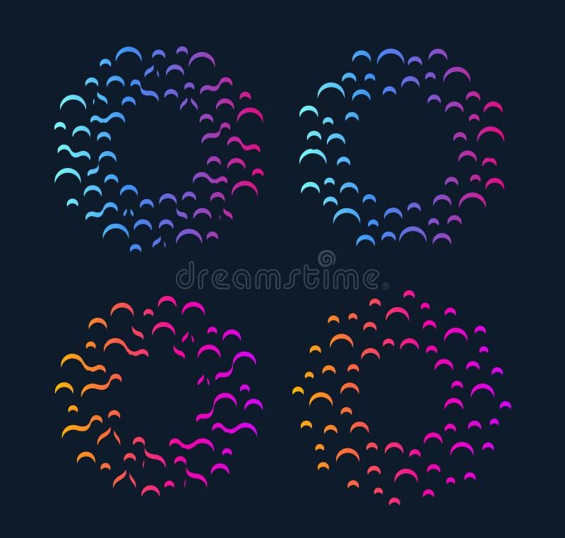 Explosion ronde abstraite Base de données réseau Signes de laboratoire de pharmacie Innovent le logo de vecteur de la science illustration stock
