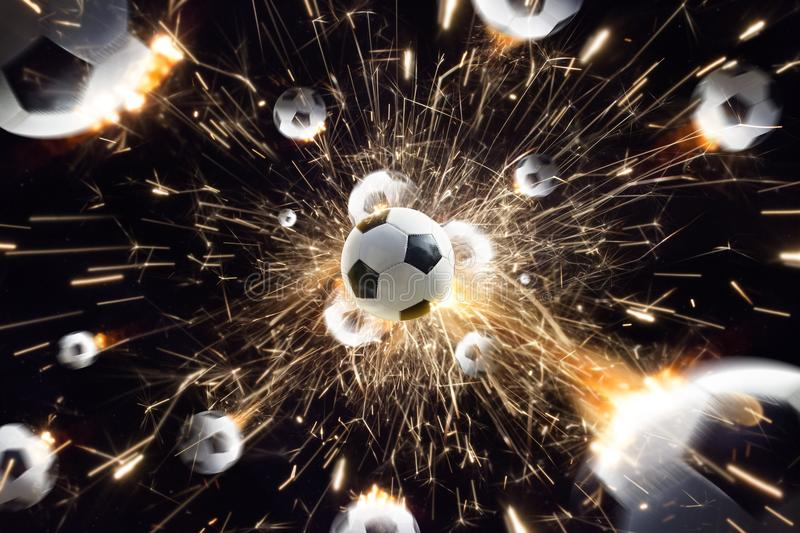 Soccer balls with fire sparks in action black isolate stock photos