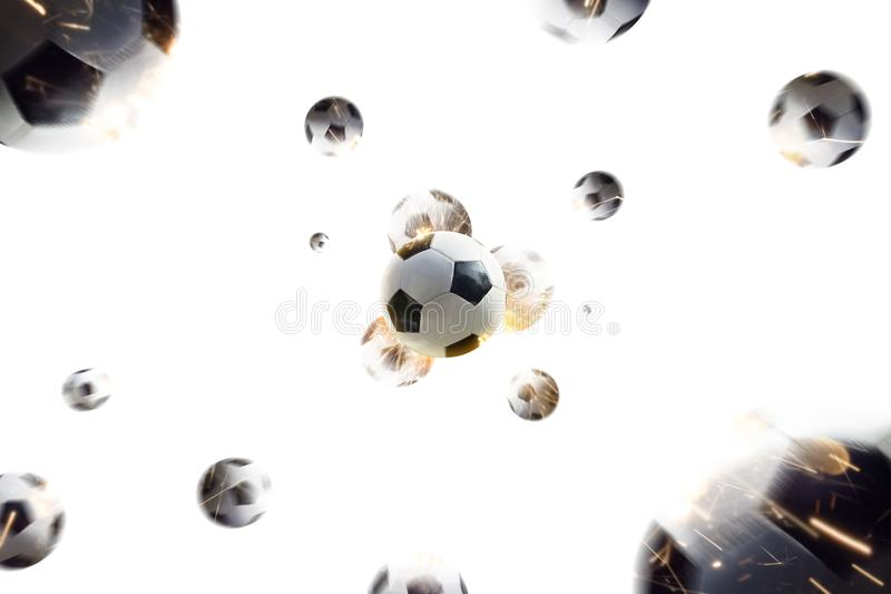 Soccer balls with fire sparks in action white isolate royalty free stock photos