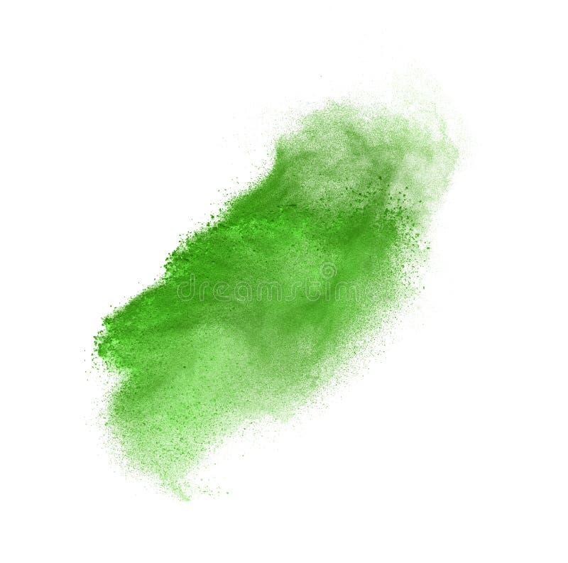 Explosion verte de poudre d'isolement sur le blanc images stock