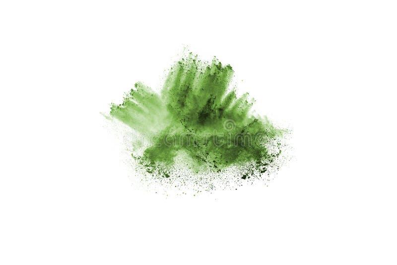 explosion verte de poudre sur le fond blanc photo libre de droits