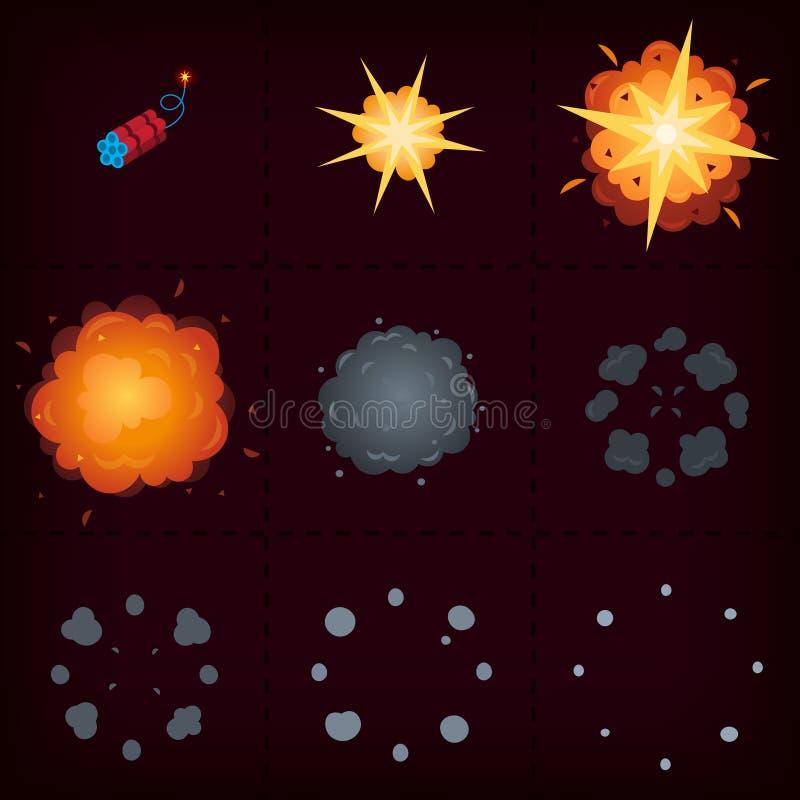 Explosionanimering i 9 moment vektor illustrationer
