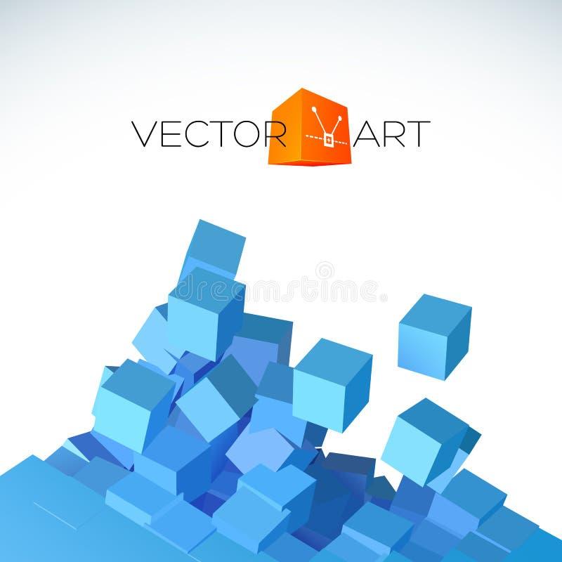 Explosionbakgrund för vektor 3D med kubik vektor illustrationer