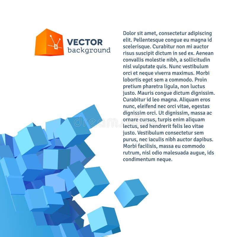Explosionbakgrund för vektor 3D med kubik royaltyfri illustrationer