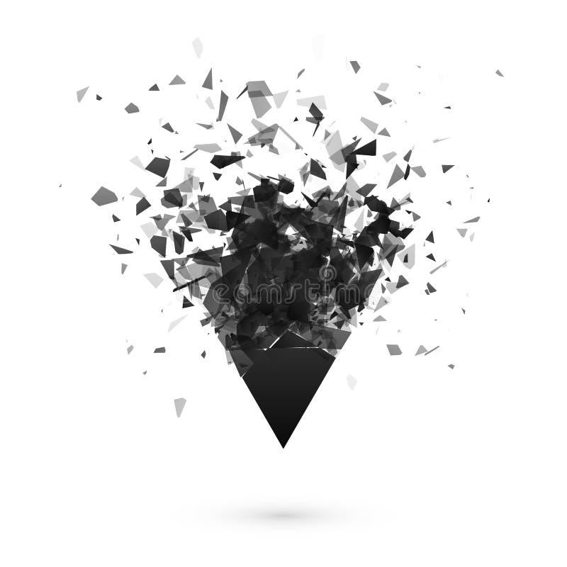 Explosioneffekt Splittra den mörka triangeln Abstrakt moln av stycken efter explosion också vektor för coreldrawillustration royaltyfri illustrationer