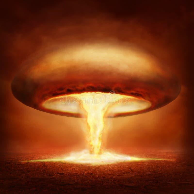 Explosionen av kärn- bombarderar royaltyfri illustrationer