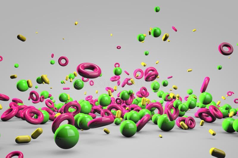 Explosionen av olik 3D anmärker i tomt utrymme stock illustrationer