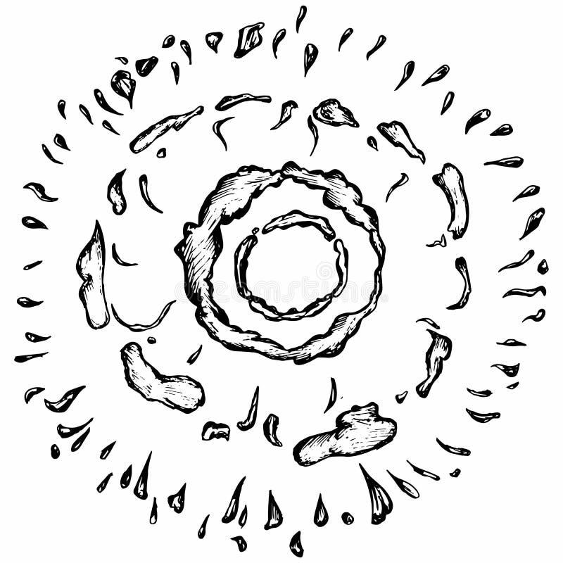 Explosioner och molnuppsättning stock illustrationer