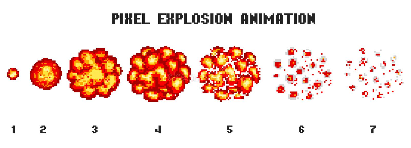 Explosiones del arte del pixel Iconos del juego fijados Efectos cómicos de la llama del auge para la emoción vector de 8 bits La  libre illustration