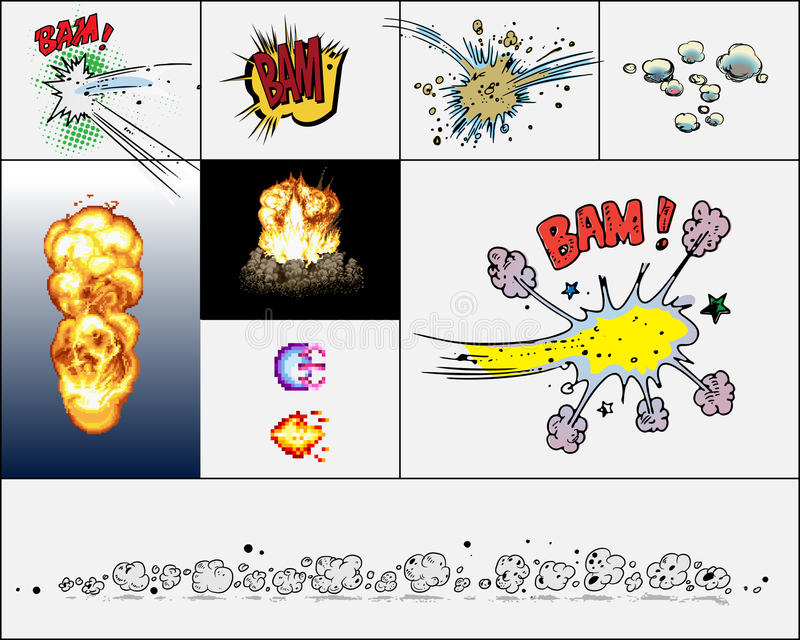 Explosiones del cómic ilustración del vector