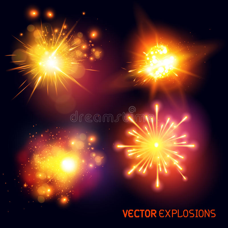 Explosiones del vector stock de ilustración