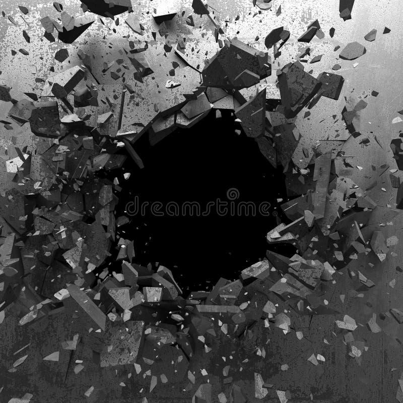 Explosionhål i sprucken vägg för betong industriell bakgrund arkivfoton