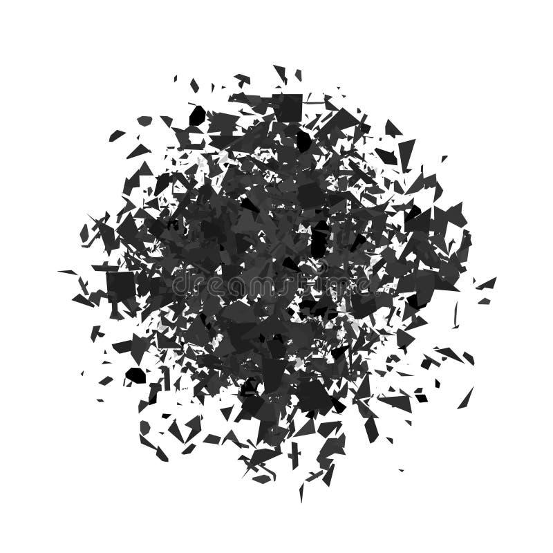 Explosionmoln av Grey Pieces stock illustrationer
