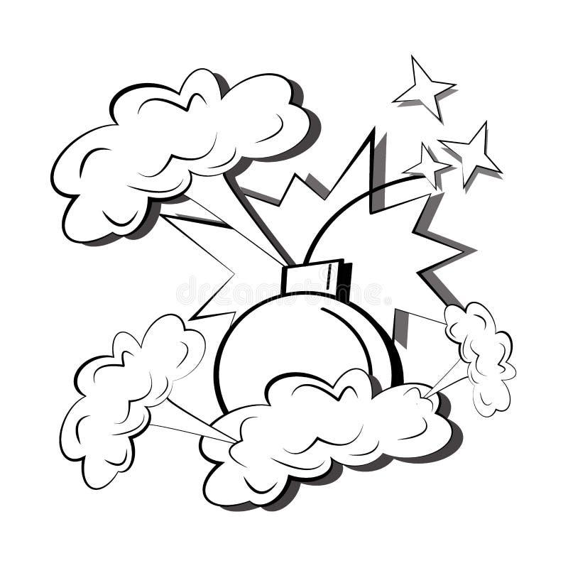 Explosions comiques de bande dessinée avec des nuages de fumée, des étincelles, d'une bombe et d'un calibre de bulle de la parole illustration de vecteur