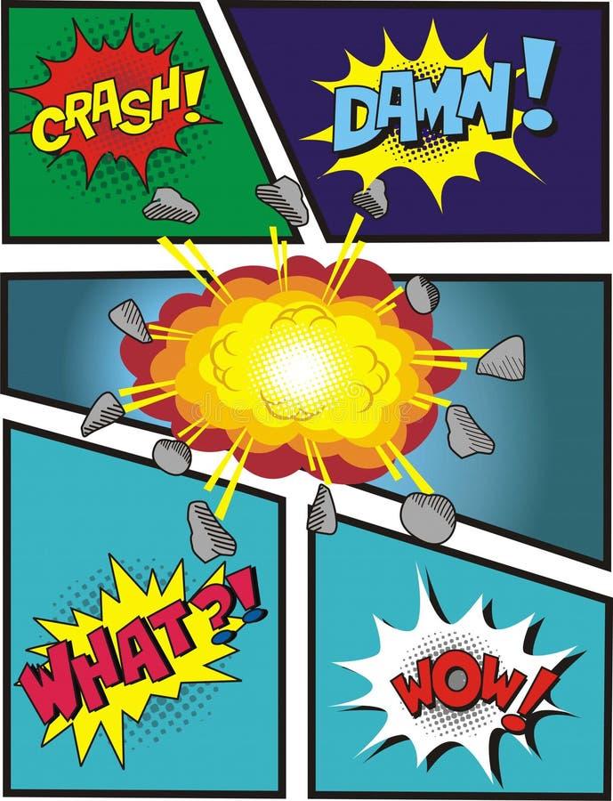 Explosions comiques de bulle illustration de vecteur