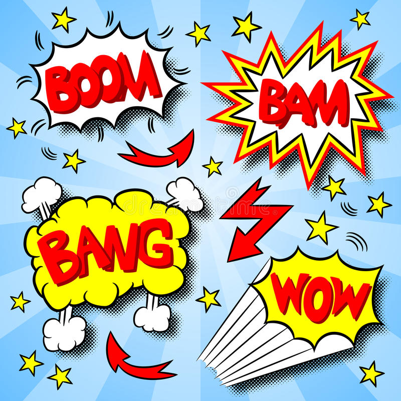 Explosions des textes de bande dessinée illustration de vecteur