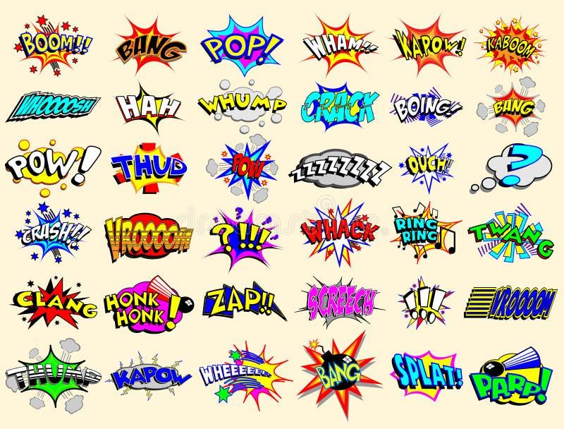 Explosions des textes de dessin animé illustration stock