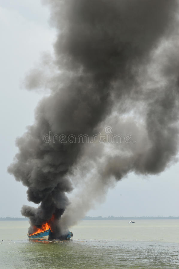 Download Explosions fishing boat editorial image. Image of police - 69658865