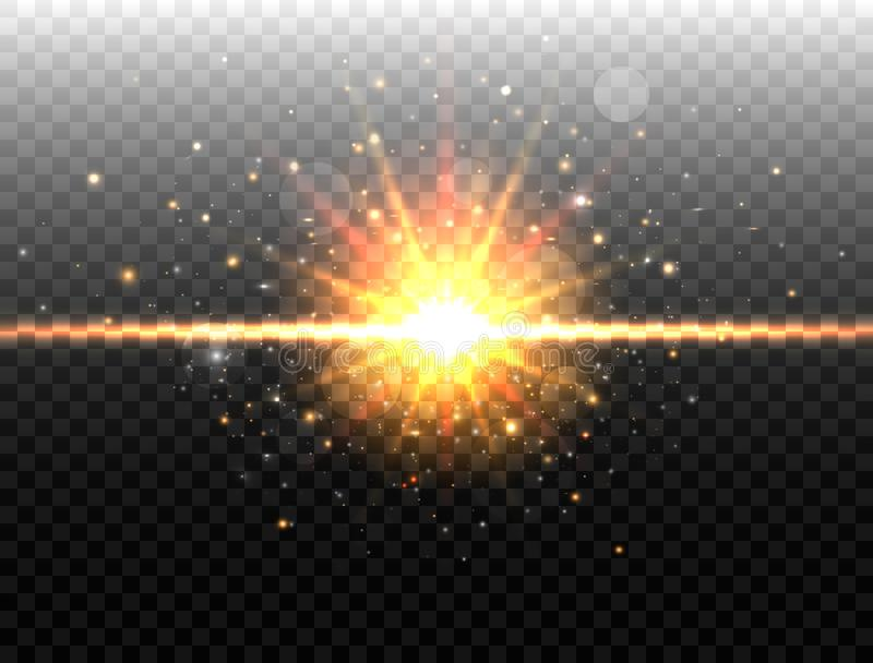 Explosionskonzept Lokalisiert auf schwarzem transparentem Hintergrund Lichteffekt des goldenen Glühens Explosionslicht Stern gesp lizenzfreie abbildung