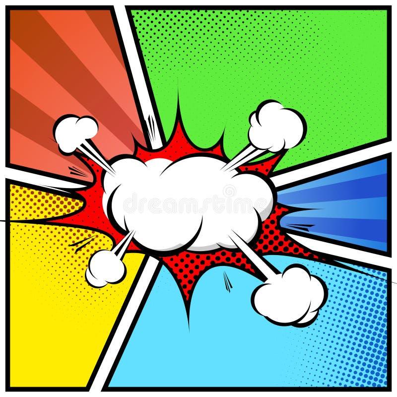 Explosionswolkenzusammenfassungscomic-buch-Artrahmen-Seitenschablone lizenzfreies stockfoto