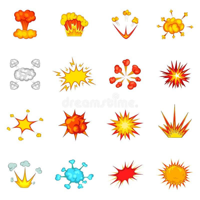 Explosionsymboler uppsättning, tecknad filmstil vektor illustrationer