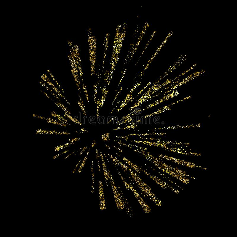 Explosionvektorillustration Guld- julbeståndsdel för hälsningkort, affischer Guld- glöd blänker ljusa strålar stock illustrationer