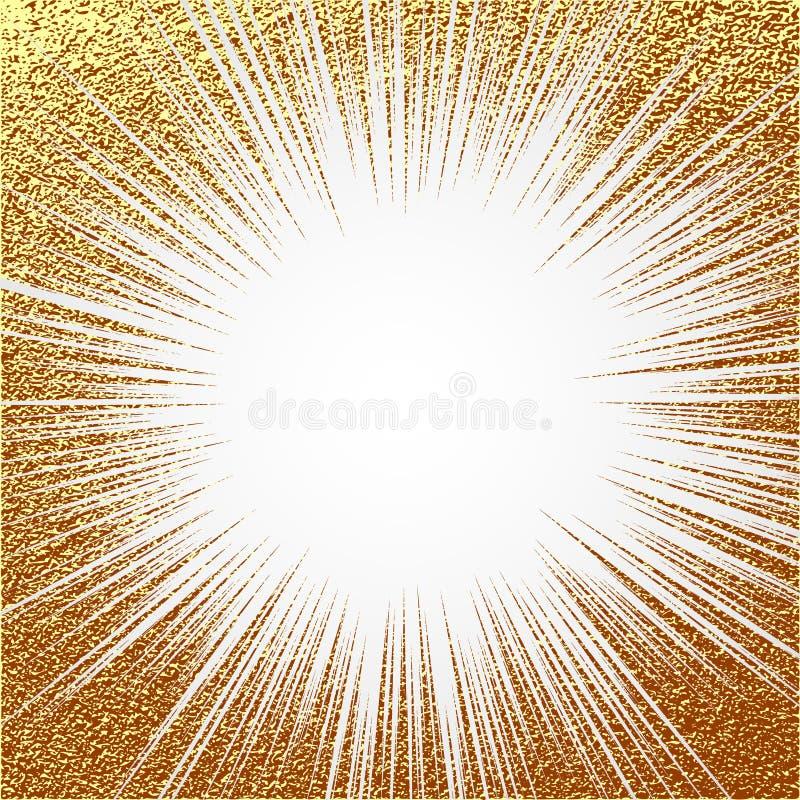 Explosionvektorillustration Solstrålen eller stjärnabristningsbeståndsdelen med mousserar Blänker guld- glöd för guld- julbestånd vektor illustrationer